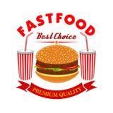 Il cheeseburger e la soda bevono per il menu degli alimenti a rapida preparazione Immagini Stock