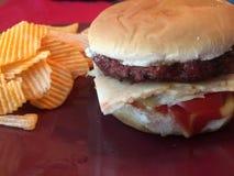 Il cheeseburger e le patatine fritte sono gli alimenti a rapida preparazione Fotografia Stock Libera da Diritti