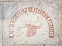 Il chilometro allo zero assoluto firma dentro il del Sol Madrid di Puerta Fotografie Stock Libere da Diritti