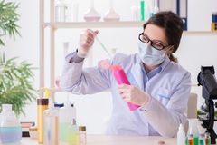 Il chimico del laboratorio che controlla bellezza ed i prodotti di bellezza Immagini Stock