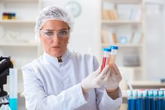 Il chimico femminile che lavora nel laboratorio Immagini Stock