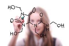 Il chimico mostra una struttura molecolare Immagini Stock