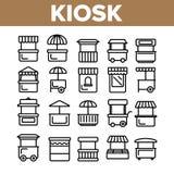 Il chiosco, stalle del mercato scrive l'insieme lineare delle icone di vettore illustrazione vettoriale