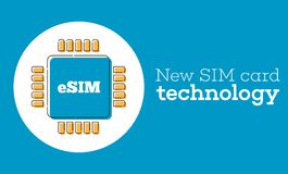 Il chip della carta di ESIM firma dentro lo stile piano Fotografia Stock