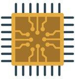 Il chip di unità di elaborazione, microchip ha isolato l'icona di vettore illustrazione vettoriale