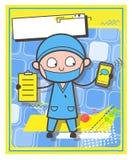 Il chirurgo con cartone e Smartphone - posta o ci contattano concetto di vettore royalty illustrazione gratis