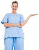 Il chirurgo grazioso in blu sfrega la presentazione Immagini Stock
