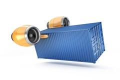 Il ciano contenitore esegue la consegna urgente su un fondo bianco Fotografie Stock