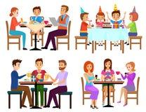 Il cibo gli adulti e della seduta fissata bambini nel caffè o nella barra del ristorante ha isolato l'illustrazione di vettore Ci royalty illustrazione gratis