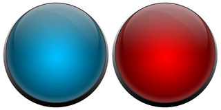 Il cicalino abbottona il rosso ed il blu Immagine Stock Libera da Diritti