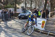 Il ciclista Christensen Mads- Parigi Nizza Prol 2013 Fotografie Stock Libere da Diritti