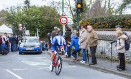 Il ciclista Daniel Hoelgaard - 2016 Parigi-piacevole Fotografie Stock Libere da Diritti