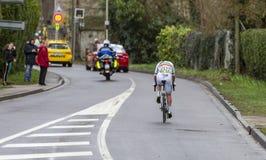 Il ciclista Eduard Grosu - 2019 Parigi-piacevole fotografia stock
