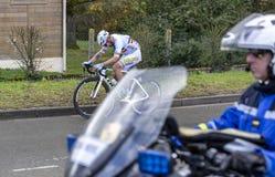 Il ciclista Eduard Grosu - 2019 Parigi-piacevole immagini stock