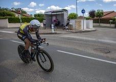 Il ciclista Enrico Battaglin - Criterium du Dauphine 2017 Fotografie Stock Libere da Diritti