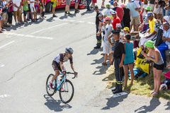 Il ciclista Jan Bakelants su Col du Glandon - Tour de France 201 Fotografia Stock Libera da Diritti