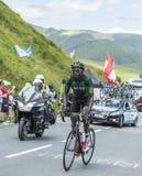 Il ciclista Kevin Reza sul passo de Peyresourde - Tour de France 20 Immagini Stock