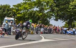 Il ciclista Maarten Wynants Fotografia Stock