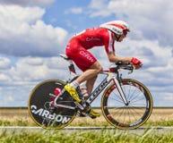Il ciclista Romain Zingle Immagini Stock