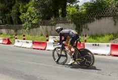 Il ciclista Thomas Voeckler - Criterium du Dauphine 2017 Fotografia Stock
