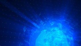 Il ciclo digitale del fondo di distorsione di vetro del globo, 3d astratto rende, contesto generato da computer video d archivio