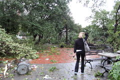 Il ciclone colpisce New York City il 16 settembre 2010 immagine stock libera da diritti