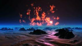 Il cielo bruciante del pianeta straniero stock footage