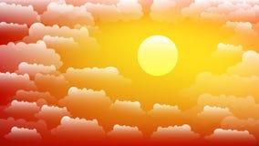 Il cielo con le nuvole ed il sole Tramonto Fondo di vettore di estate nell'allungamento di 16:9 illustrazione di stock