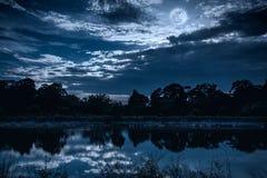 Il cielo con molti star e luna piena sopra le siluette degli alberi e Fotografie Stock