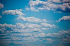 Il cielo con una fila delle nuvole e degli uccelli Fotografia Stock Libera da Diritti