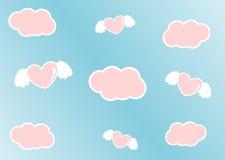 Il cielo del fumetto con le nuvole ed i cuori rosa con l'angelo traversa Fotografia Stock Libera da Diritti
