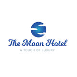 Il cielo dell'hotel della luna si appanna il logo di lusso della stazione termale Immagini Stock Libere da Diritti