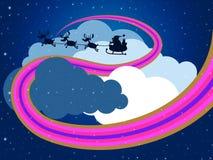 Il cielo delle nuvole rappresenta il padre Christmas And Christmastime Immagini Stock