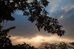 Il cielo di sera è ha un fascio luminoso che passa con gli strati delle nuvole Fotografie Stock