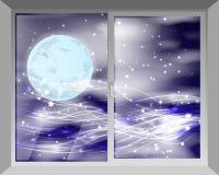 Il cielo e la luna vista da parte a parte Immagine Stock