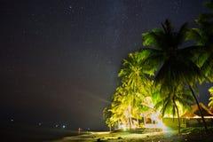 Il cielo notturno Stars sopra la spiaggia con la casa e le palme Immagine Stock Libera da Diritti