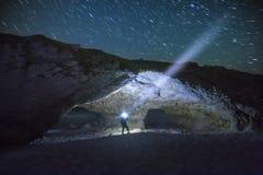 Il cielo notturno, stella trascina il parco provinciale di arché Fotografia Stock