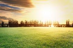 Il cielo perfetto con la nuvola ed alba in parco Immagini Stock Libere da Diritti