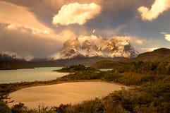 Il Cile, Patagonia, Torres del Paine Fotografie Stock