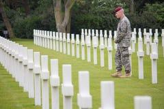 Il cimitero militare americano vicino ad Omaha Beach al sur Mer di Colleville come sito storico del d-day 1944 ha alleato gli att Fotografia Stock Libera da Diritti