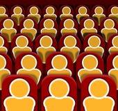Il cinema di vettore mette le file a sedere con la gente, immagine variopinta illustrazione di stock