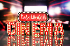 Il cinema ha avuto navata leggera di concetto lascia il cinema 3d dell'orologio rendere il backg Fotografia Stock Libera da Diritti