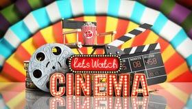 Il cinema ha avuto navata leggera di concetto lascia il cinema 3d dell'orologio rendere il cinema Fotografia Stock Libera da Diritti