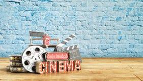 Il cinema ha avuto navata leggera di concetto lascia il cinema 3d dell'orologio rendere il cinema Fotografie Stock