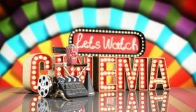 Il cinema ha avuto navata leggera di concetto lascia il cinema 3d dell'orologio rendere il cinema Fotografie Stock Libere da Diritti