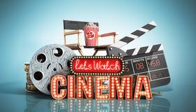 Il cinema ha avuto navata leggera di concetto lascia il cinema 3d dell'orologio rendere su blu Fotografie Stock Libere da Diritti