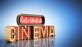 Il cinema ha avuto navata leggera di concetto lascia il cinema 3d dell'orologio rendere su blu Fotografia Stock Libera da Diritti