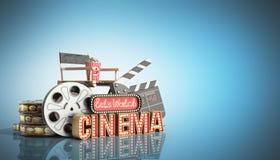 Il cinema ha avuto navata leggera di concetto lascia il cinema 3d dell'orologio rendere su blu Fotografie Stock