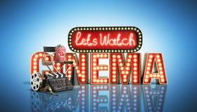 Il cinema ha avuto navata leggera di concetto lascia il cinema 3d dell'orologio rendere su blu Fotografia Stock