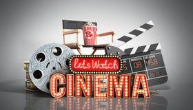 Il cinema ha avuto navata leggera di concetto lascia il cinema 3d dell'orologio rendere su gre Fotografie Stock